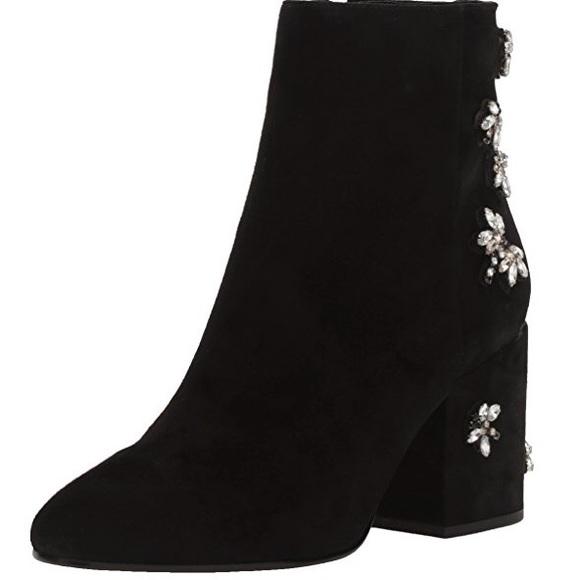 d6dac21b9037c4 Sam Edelman Taye 2 Jewel Black Suede Ankle Bootie